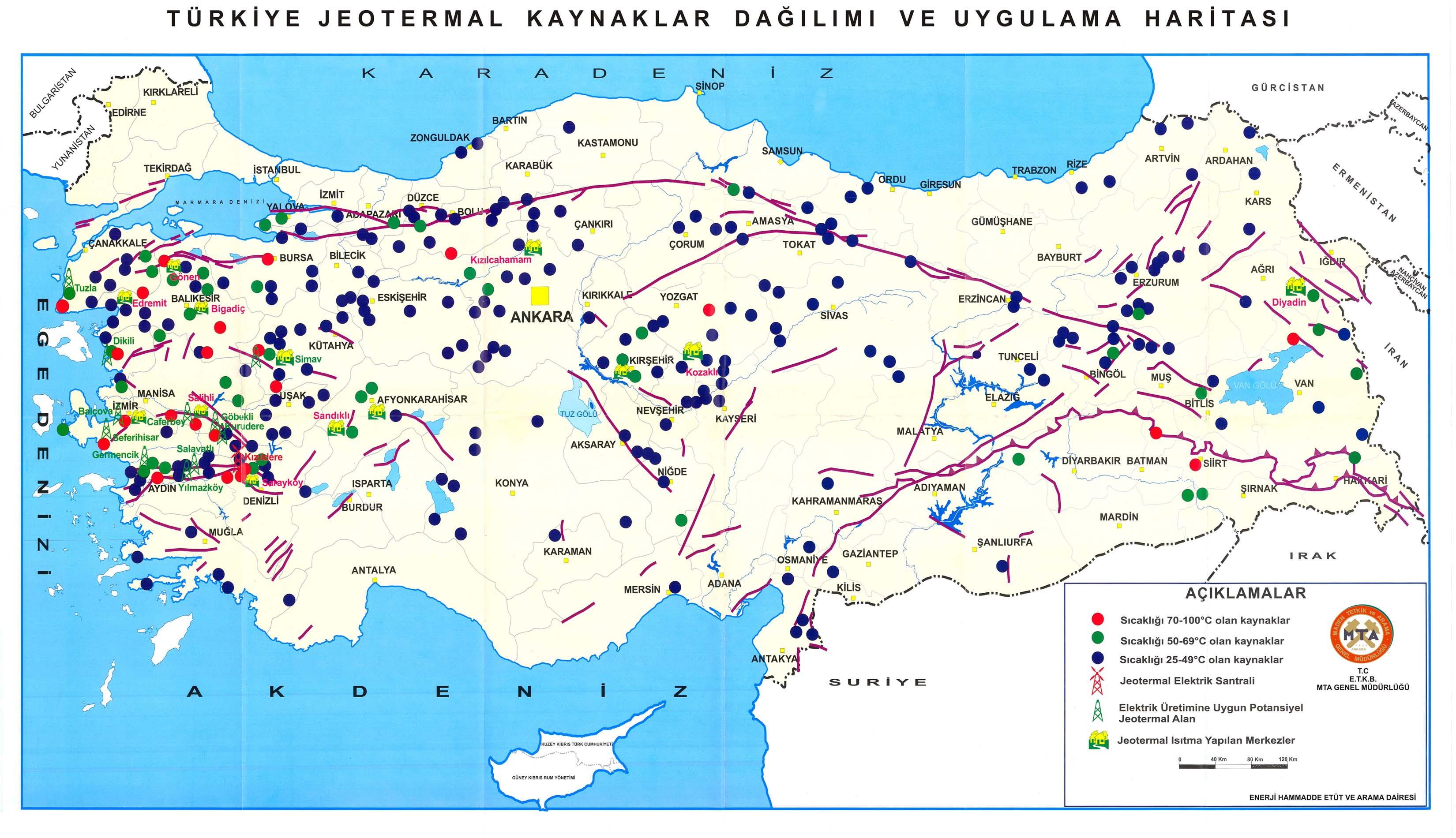 Türkiye jeotermal kaynak Haritası